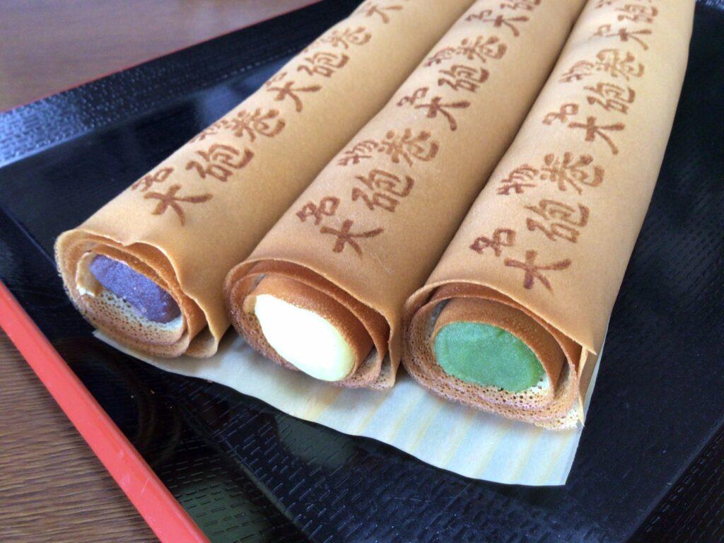 大砲巻 味比べ(小豆こしあん、栗あん、抹茶あん) 3本箱入